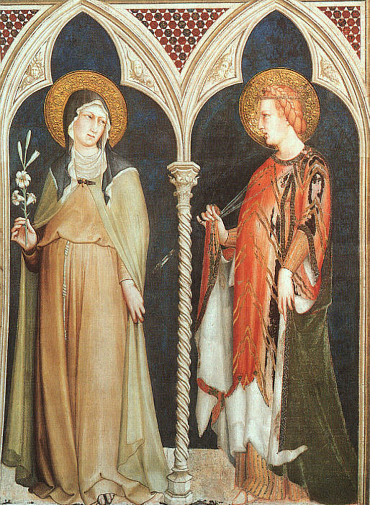St Clare and St Elizabeth of Hungary by Simone Martini