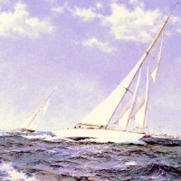 The Americas Cup Race The Yachts Resolute And Shamrock by Montague Dawson