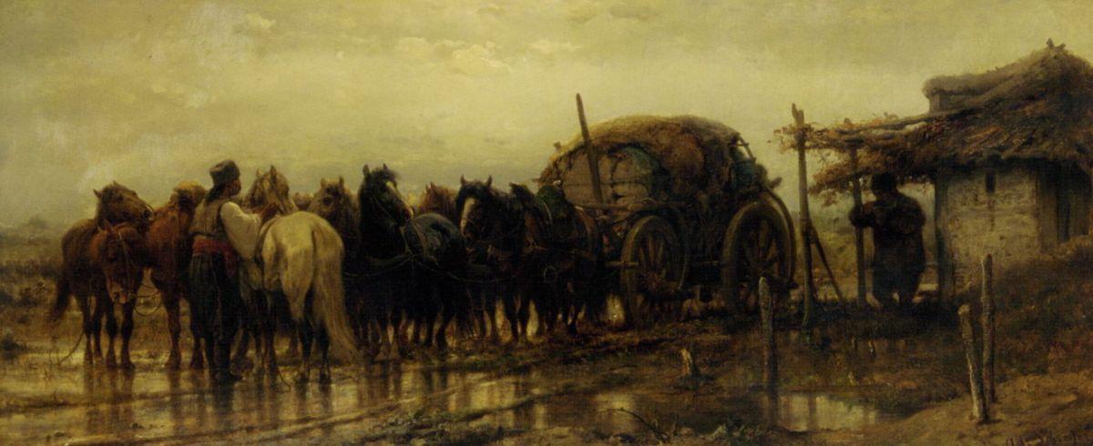 Hitching Horses by Adolf Schreyer