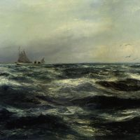 Cornish Sea and Working Boat by Charles Napier Hemy