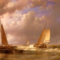 Dutch Barges At The Mouth Of An Estuary by Abraham Hulk Snr