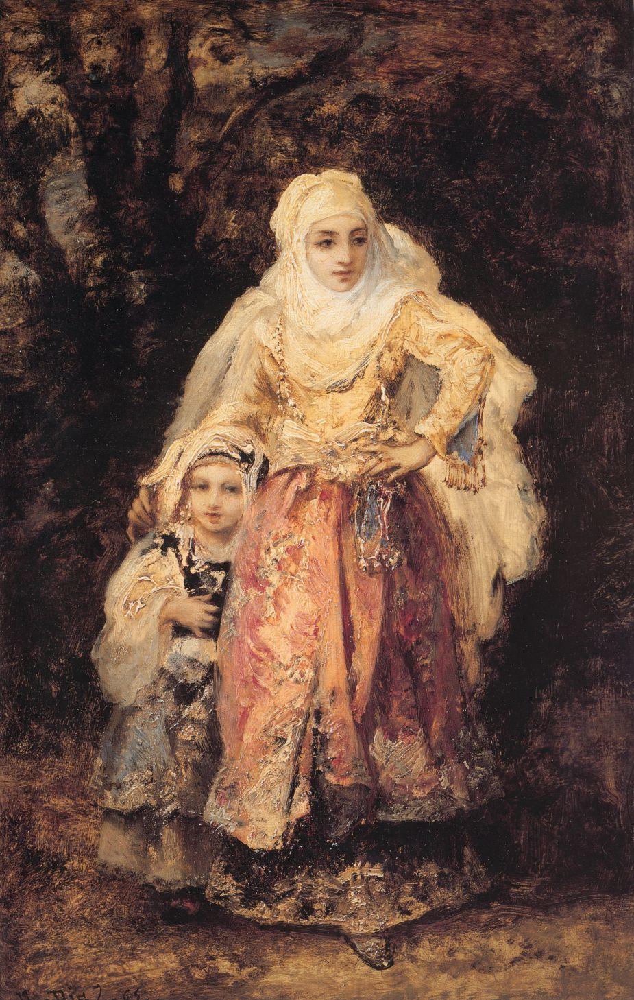 Oriental Woman and Her Daughter by Narcisse Virgile Diaz de la Pena