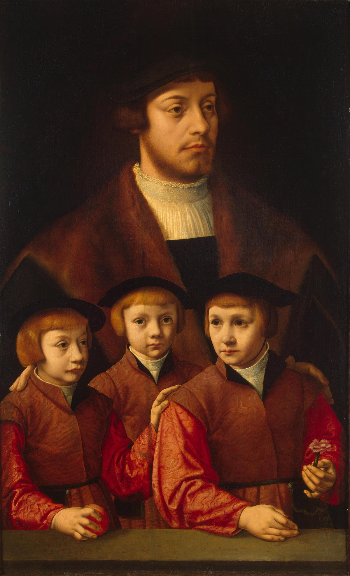 Portrait of a Man with Three Sons by Barthel Bruyn