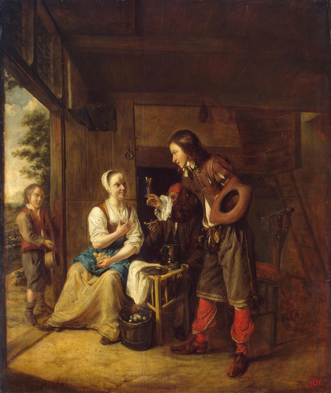 A Man Offering a Glass of Wine to a Woman by Pieter de Hooch