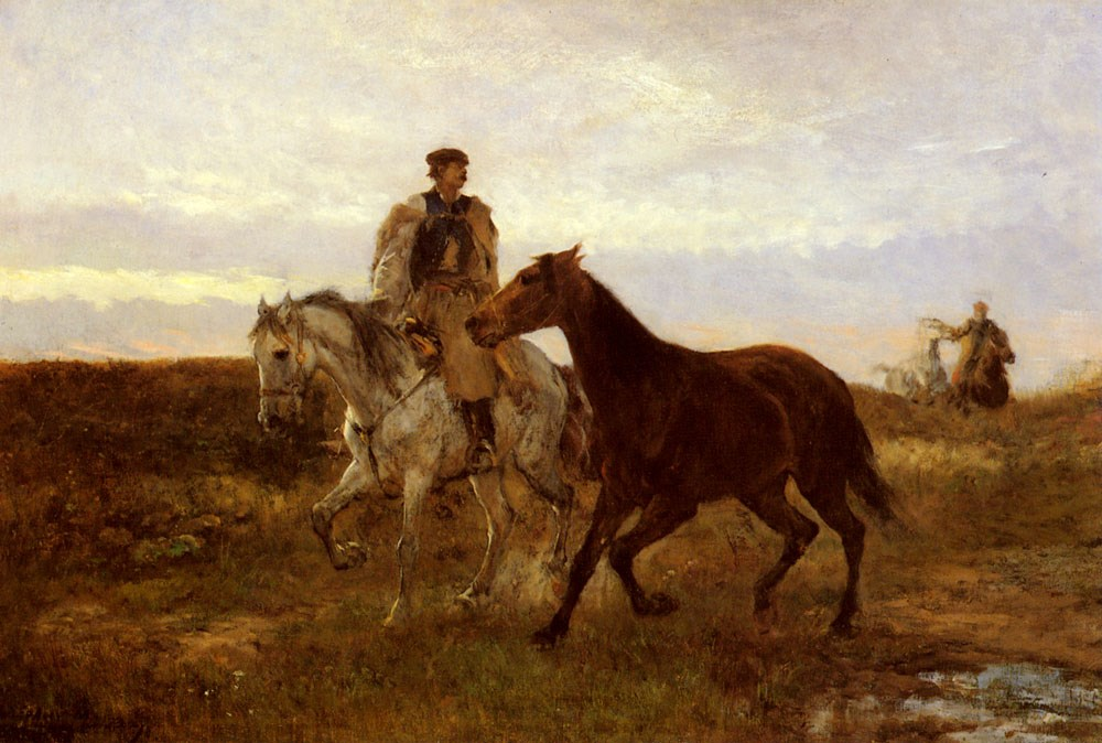 Leading the Horses Home at Sunset by Mihaly Munkacsy