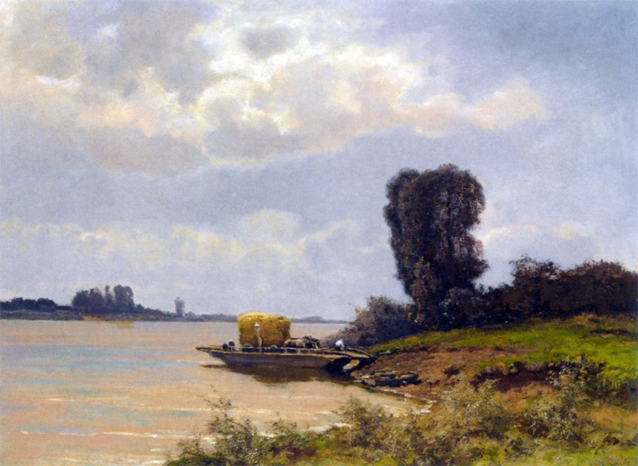A Ferry In A Summer Landscape by Louis Apol