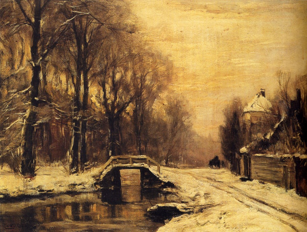 A Snowcovered Forest With A Bridge Across A Stream by Louis Apol