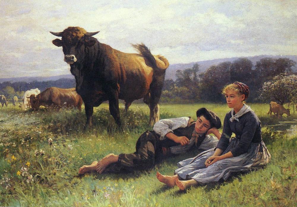 Herdsman's Repose by Edouard Bernard Debat Ponsan