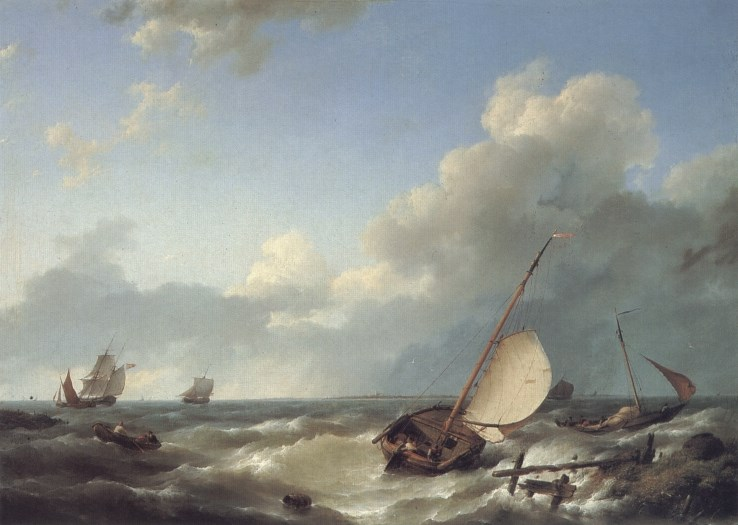 Shipping in a stiff breeze by Hermanus Koekkoek Snr