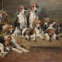 Foxhounds and Terriers in a Kennel by John Emms