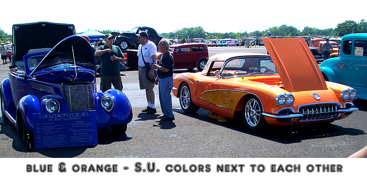 Syracuse Nationals - Blue and Orange Colored Cars