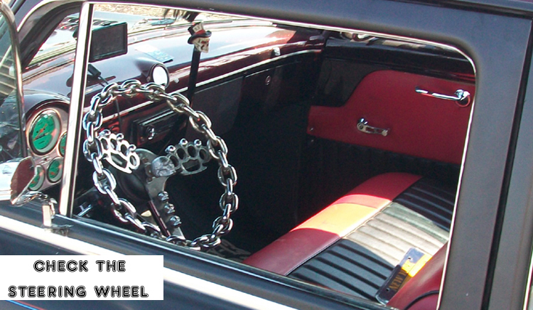 Syracuse Nationals - Chain and Brass Knuckles Steeriing Wheel on Skull Car