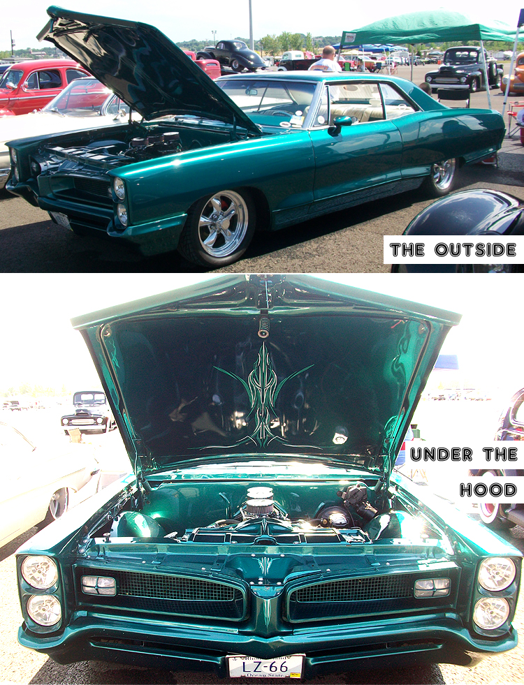 Syracuse Nationals - Green Car Outside and Under the Hood