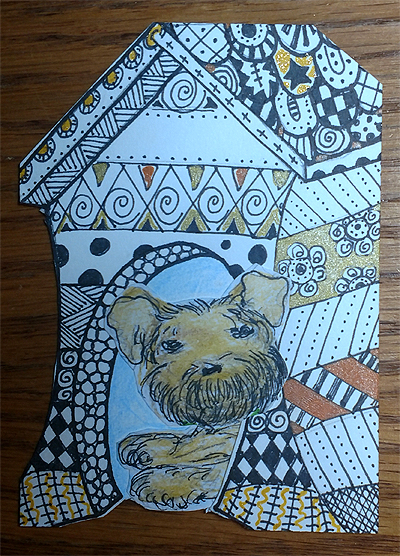 In the Dog House #Zentangle #ATC Art Card Swap - Terrier
