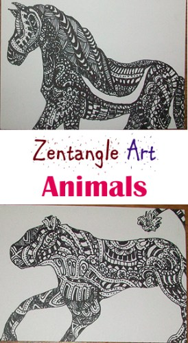 Zentangle Art - Artist Trading Cards ATCs - Animals