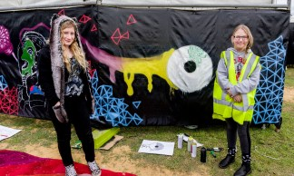 Jasmin and Emily with GTM scrim. Photo by Rob Cox