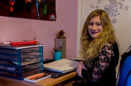 Jasmin at desk. Photo by Rob Cox
