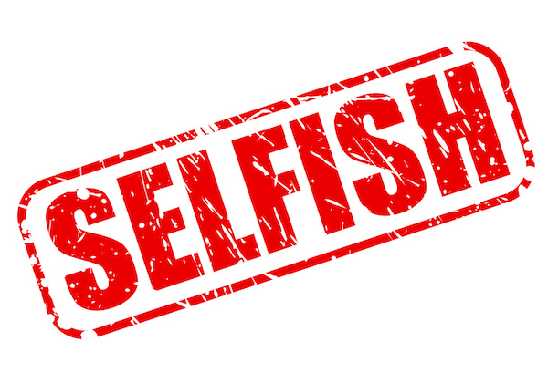SELFISH red stamp text