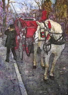 """Rebecca Cardinal 2013 Batik Watercolor 20"""" * 29"""""""