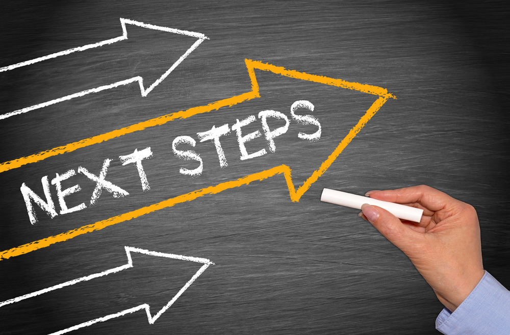 Blackboard with the words: Next Steps