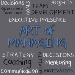 Graphic with the words of Art of Managing and other management terms