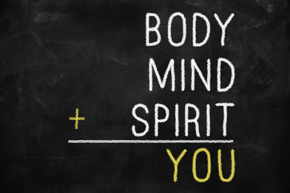 Chalkboard that reads: Body, Mind, plus Spirit equals You