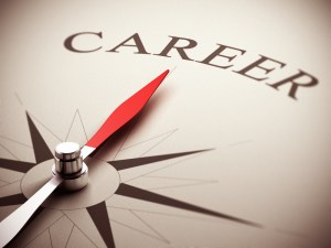A compass face pointing to the word Career