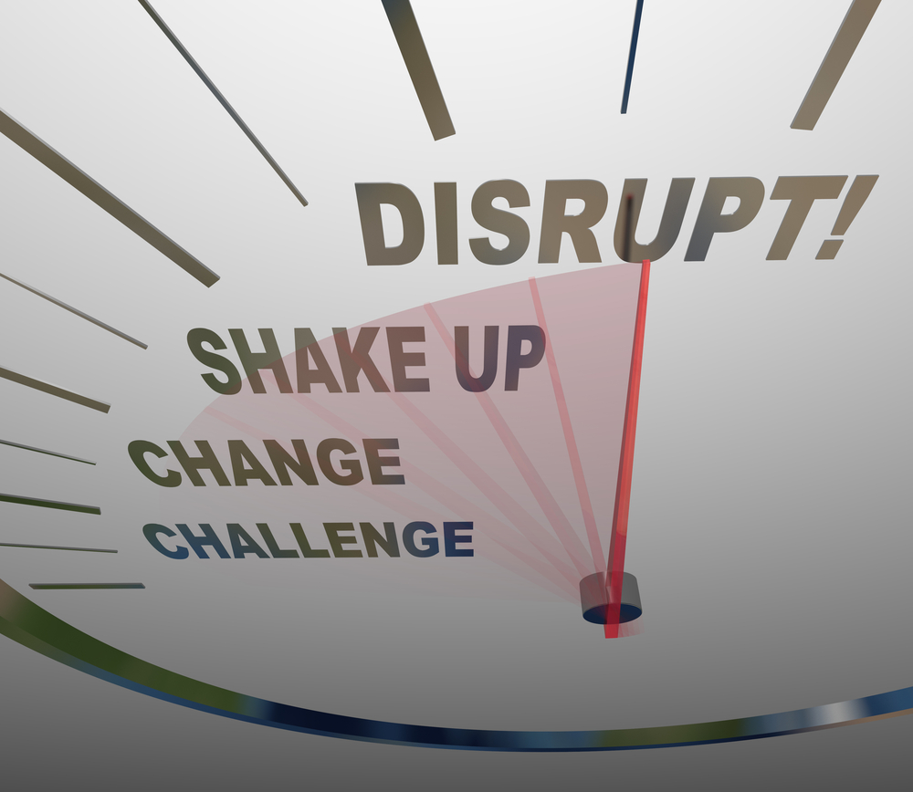 Graphic image with scale including the words challenge, change, shake up, disrupt
