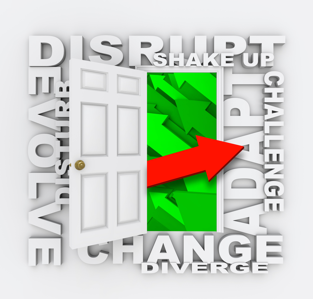 Graphic word collage including change, disrupt, adapt