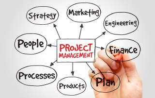 Diagram with the words Project Management at the center and other related business words