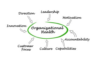 Whiteboard with text: Organizational health at center and other disciplines surrounding