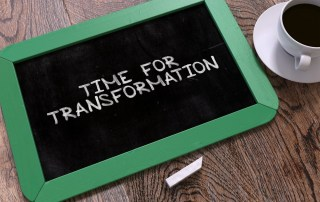 Chalkboard with the phrase: time for transformation