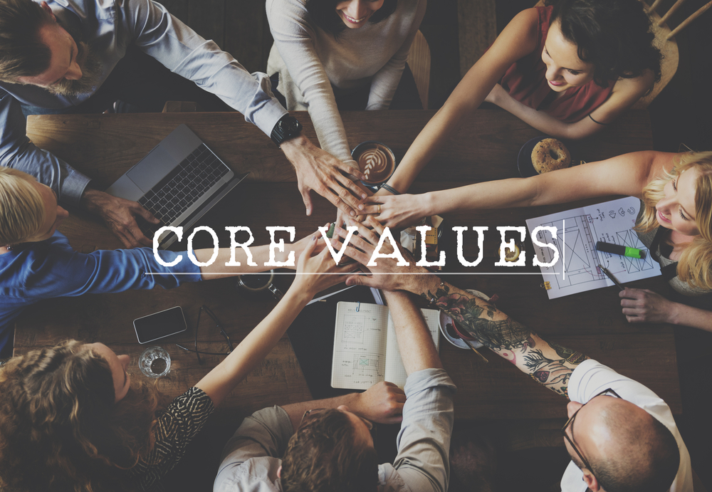 workplace team with word core values over the image