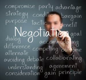 Person writing the word: Negotiation and related terms