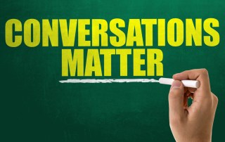 image with words: conversations matter