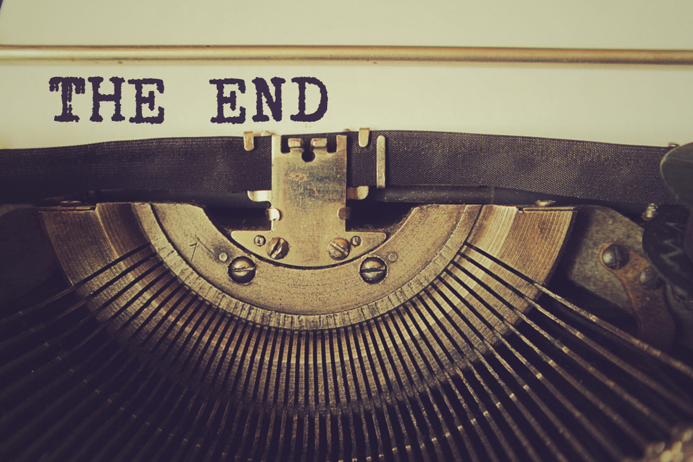 typewritten page with the words: The End