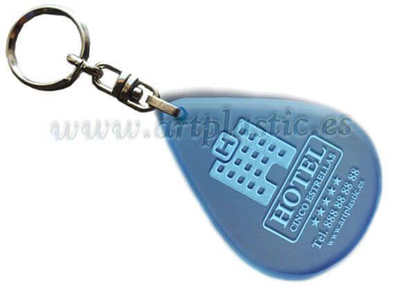 llavero personalizado para hoteles azul