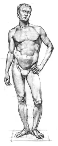 Figure of a young man on one leg
