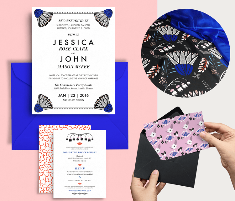 modern floral wedding stationery design . Designer Jessica Clark
