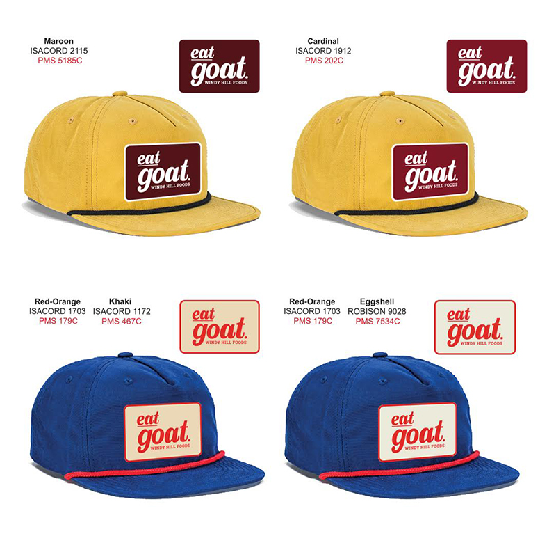 Design renderings for Windy Hill Foods new hats and patches, Jess Rose Clark