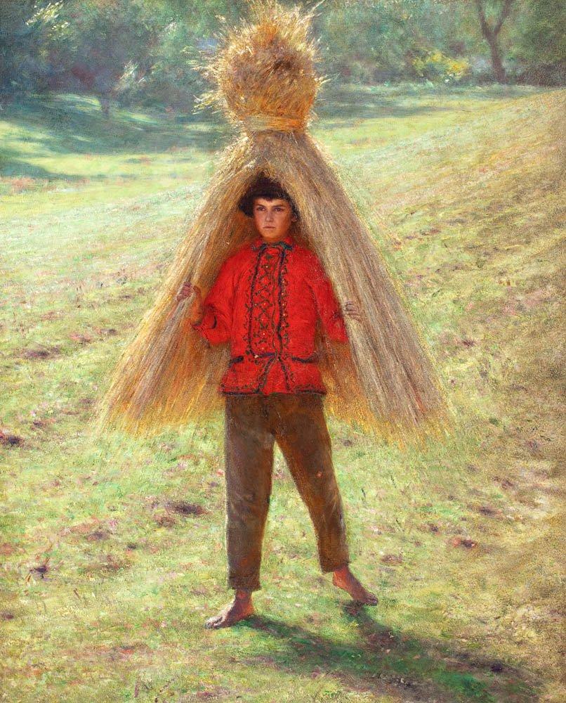 Aleksander Gierymski: Garçon portant une gerbe. 1895