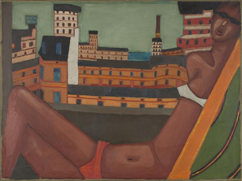 Jerzy Nowosielski: Nu dans un paysage urbain. 1965