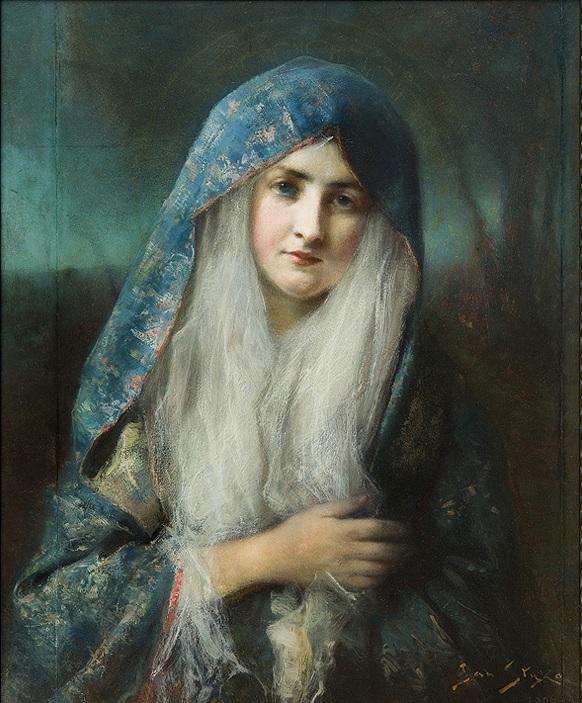 Jan Styka: Madone. 1906. Huile sur carton. 73 x 60 cm. Collection privée (agraart.pl).
