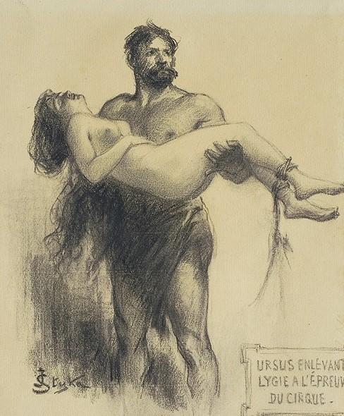 Jan Styka: Ursus enlevant Lygie à l'épreuve du cirque, 1901-1904. Illustration.