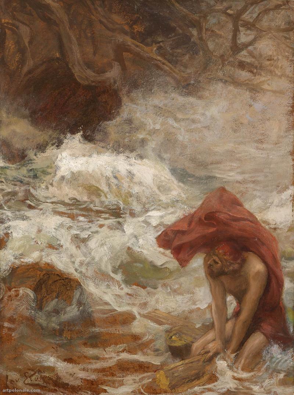 Jan Styka: Ulysse échappe à Charybde. Vers 1920. Huile sur carton, 76.5 x 57.5 cm. Collection privée (mutualart.com).