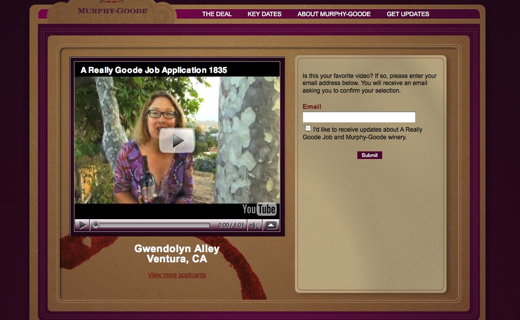 Gwendolyn Alley is Murphy-Goode http://www.areallygoodejob.com/video-view.aspx?vid=MEPRrfj1uHU