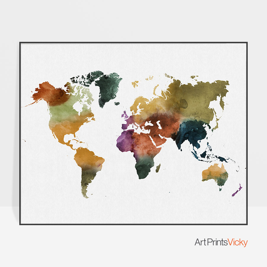 world map poster colorful