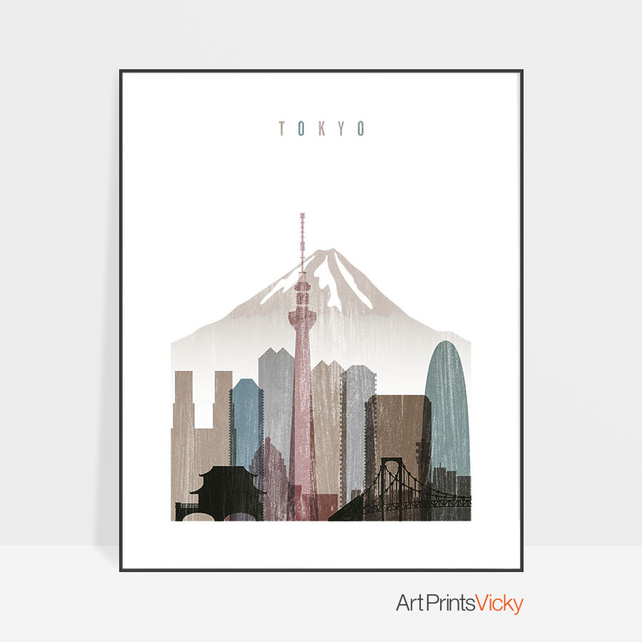 tokyo skyline poster distressed
