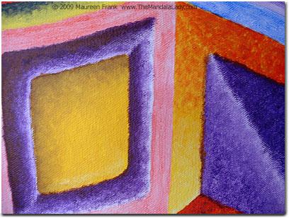 Close-up of larger purple diamond and yellow/purple rectangle