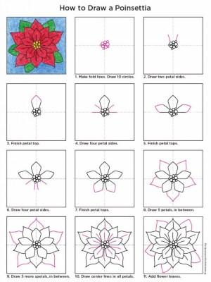draw poinsettia drawing drawings projects easy flowers diagram artprojectsforkids winter trace tekenen bloemen lines